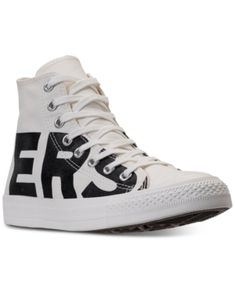 CONVERSE MEN'S CHUCK TAYLOR ALL STAR WORDMARK HIGH TOP CASUAL SNEAKERS FROM FINISH LINE. #converse #shoes #