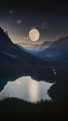 Full moon over one of the most beautiful lakes in the world. - Peyto Lake is located in Baniff National Park, Alberta, Canada.