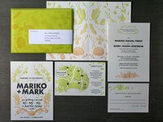 Ombré letterpress wedding invitation design by Julia Kostreva x Studio on Fire (Beast Pieces)