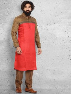 Shop Red plain linen pathani suit online from G3fashion India. Brand - G3, Product code - G3-MPS0433, Price - 5895, Color - Red, Fabric - Linen,