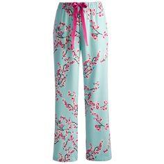 Joules Fleur Floral Pyjama Pants, Turquoise (53 RON) ❤ liked on Polyvore featuring intimates, sleepwear, pajamas, pants, bottoms, pijamas and pj pants