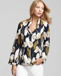 TORY BURCH Printed Cotton Voile STEPHANIE Tunic in NORMANDY BLUE TULIP-Size 8!!! #QFClothing #Fashion #ToryBurch Stores.eBay.com/QFClothing