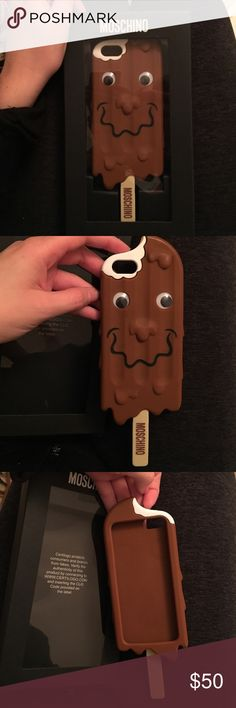 Moschino iPhone 5 case Lightly used, Moschino iphone 5 case popsicle stick with moving goggly eyes. Moschino Accessories Phone Cases