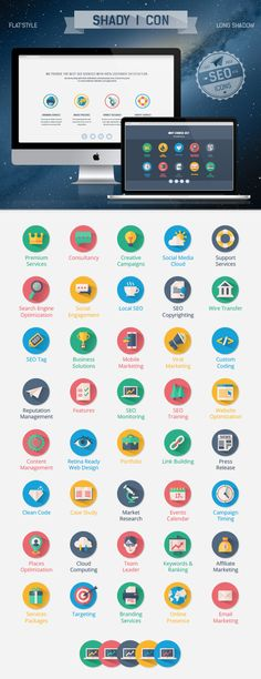 Shady I Con, SEO Flat Icons on Behance