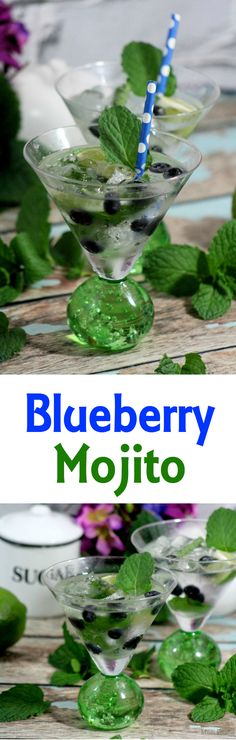 Blueberry Mojito -  recipe features the fresh flavors of blueberry and mint, yet in the familiar context of a mojito.