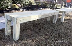 butcher block benches. Want to the full how to for these? It's easy! You'll need 2 x 4s cut to desired length, some deck screws, and a power screwdriver.