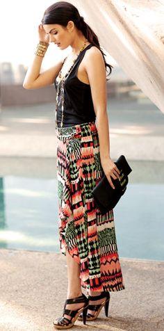 Arden B.- Tribal Ikat Maxi Skirt