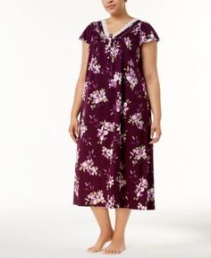 Charter Club Plus Size Cotton Lace-Trim Nightgown, Created for Macy's - Purple 2X