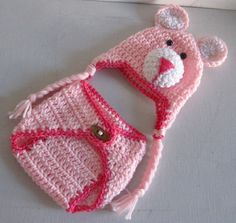 Baby Hat and Diaper Cover Pink Little Teddy by DosCraftySisters, $25.00