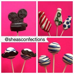 Happy Father's Day everyone! Special Father's Day cake pops order. #cakepops #fathersday #happyfathersday #necktie #mustache #videocamera #reeltoreel #dad #cake #baking #yummy