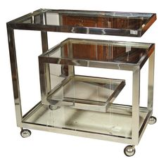 "Chrome Glass ""Greek Key"" Bar Cart 
