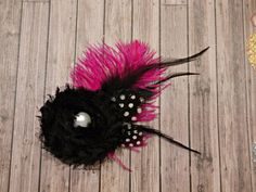 Hot Pink and black feather hair clip by stylesbym on Etsy, $10.00