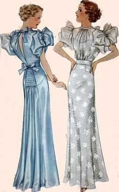 awesome Vintage 30s Sewing Pattern McCall 8401 Swing Era Evening Gown/Party Dress with...