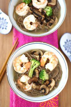 Easy Shrimp & Mushroom Soba Noodle Soup | Cookin' Canuck