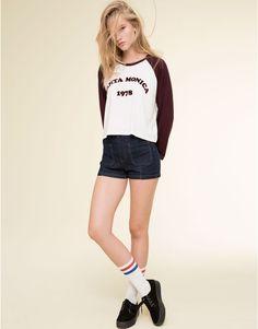 Pull&Bear - mujer - camisetas y tops - camiseta estilo beisbolera - granate - 09243352-I2015