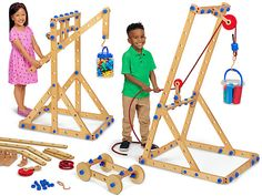 Jumbo Simple Machine Builders at Lakeshore Learning Kids Indoor Gym, Backyard For Kids, Building For Kids, Building Toys, Wooden Ramp, Wooden Toys, Indoor Birthday, Kids Obstacle Course, Stem Skills