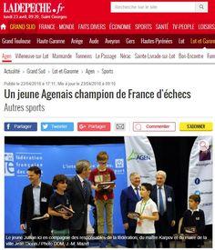 """🗞 À lire dans @ladepechedumidi : """"Un jeune Agenais champion de France d'échecs"""" Saint Georges, France, French"""