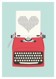 Vintage typewriter poster, mid century art, Retro print, heart print, words, pop art, posters with typewriters  A3 #flatdesign