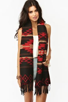 Tribal Fringe Scarf - Red - Nasty Gal $48  This would look great with a simple white top!