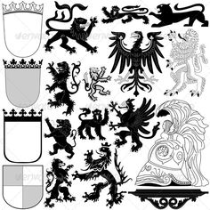 Vector of Heraldic Royal elements on white background. Package contains: EPS (10 version), JPG (50005000 pixels, RGB).
