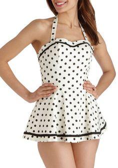 Sun Speckled Afternoon Playsuit - White, Black, Polka Dots, Trim, Beach/Resort, Pinup, Vintage Inspired, 50s, Cotton, Film Noir, Rockabilly, 40s, Halter, Summer