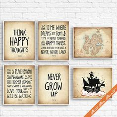 Peter Pan Neverland Quotes and Map (B) - Set of 6 Art Print (Unframed) (Featured in Treasure Map) Peter Pan Prints by PeterPanPrints
