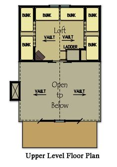 Small cabin plan with loft cabin house plans cabin for Fish camp house plans