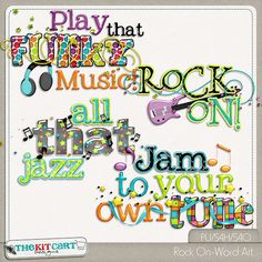 Rock On Word Art Digital Scrapbooking Studio