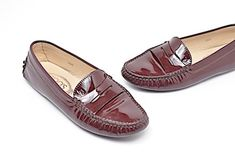 22ffa8fe6b4 Tod s Patent Leather Penny Loafer Driving Wine Flats Signature Style