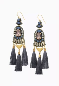 Rachelle Tassel Earrings by Stella & Dot Genuine leather with rich cool tones and neutral sparkle finished with three delicate thread tassels. A modern chandelier with a vintage feel.