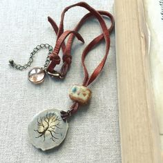 Leather Necklace with Carved Pendant - Lorelei Eurto Jewelry