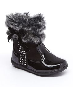 Black & Gray Patent Faux Fur Trim Boot by Laura Ashley