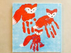 Family hand print, toddler art, toddler handprint art, toddler handprint, fox handprint art, toddler activities, father's day gift ideas, mother's day gift ideas