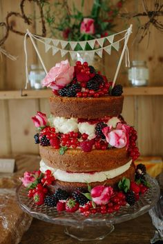 Home-made naked wedding cake