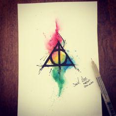 Watercolor / aquarela Art Ilustration by @dn_alves Harry Potter Deathly Hallows JK Rowling // Reliquias da Morte Daniel R Alves Tattoo Artist