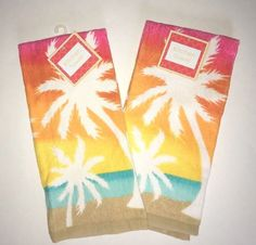 Dish Towels Set of 2 Palm Trees Sunset Beach House 100% Cotton Dish Towel New #mainstream