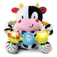 Vtech Baby Lil' Critters Moosical Beads - Soft Cuddly Musical Stuffed Animal Cow toy for baby that features a variety of fabric textures for baby tactile development.
