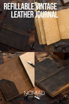 We listened to our loyal customers and introduced our unique vintage refillable journal. The Leather cover is refillable with any A4 notebooks out there. NomadCraftsCo. Vintage Paper Refills are also available. A4 Notebook, Refillable Journal, Leather Journal, Book Of Shadows, Leather Cover, Vintage Paper, Vintage Leather, Unique Vintage