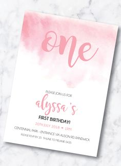 First Birthday Invitation - Pastel Watercolour - Pink OR Blue Baby Girl First Birthday, Pastel Watercolor, First Birthday Invitations, Pink Blue, First Birthdays, Rsvp, Artwork, Prints, Etsy
