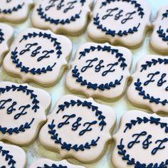 Blue Cookies, Drop Cookies, Sweet Cookies, Cut Out Cookies, Sugar Cookies, Blue Wedding Cupcakes, Wedding Cake Cookies, Wedding Shower Cupcakes, Bridal Shower