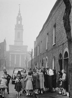 Tommy Steele signing autographs in Frean Street, Bermondsey. 1957.