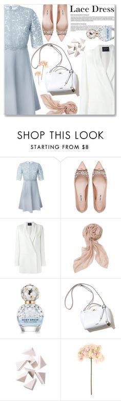 """Sweet Spring Lace Dress White Blazer"" by jiabao-krohn ❤ liked on Polyvore featuring Valentino, Miu Miu, Lanvin, Stella & Dot, Marc Jacobs, Bobbi Brown Cosmetics, Sia, Spring, blazer and pastel"
