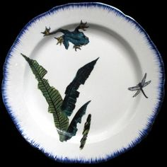 Bracquemond feuillage Damselflies, Plates, Pottery Ideas, Dragonflies, Carpets, Tableware, Nautical, China, Decoration