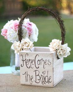 Shabby Chic Flower Girl Basket Rustic Wedding by braggingbags, $45.50