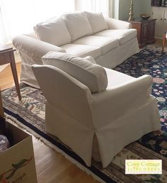 Cozy Cottage Slipcovers Cozy Cottage, Basement Ideas, Slipcovers, Love Seat, Armchair, Couch, Furniture, Home Decor, Womb Chair