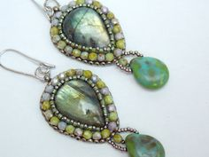 Check out Bead embroidery, Earring, Seed bead jewelry,  Fashionable earring, Trending jewelry,  Labradolite, Gemstone jewelry, on vicus
