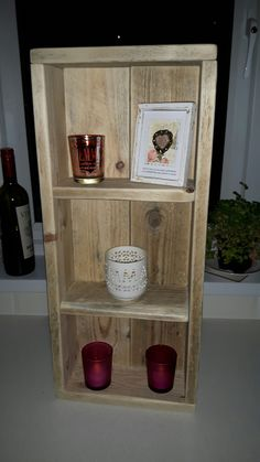 A recycled pallet shelf made by my partner as a present for me. So happy!!!.