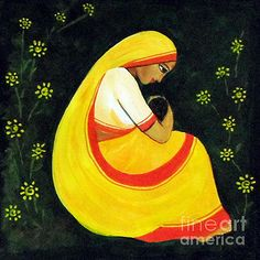 Asha Sudhaker Shenoy - Mother and child Pop Art Drawing, Art Drawings For Kids, Indian Art Paintings, Modern Art Paintings, Watercolor Negative Painting, Rajasthani Painting, Indian Folk Art, Madhubani Painting, India Art
