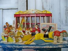 Vintage toy wooden Fisher Price circus wagon by AnitaSperoDesign