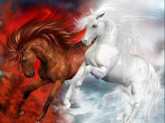 AMAZING PAINTING THOSE TWO HORSES AND COLOURS REALY STAND OUT TOGETHER!